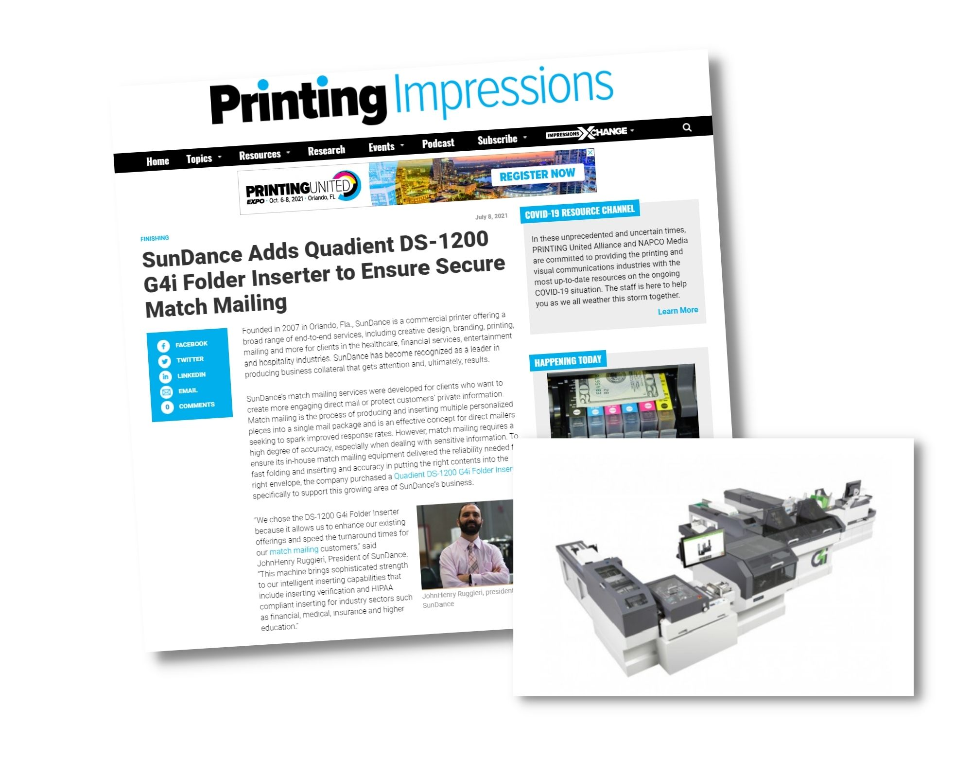 Printing Impressions' Latest Article On Our Quadient DS-1200 Intelligent Inserter Purchase