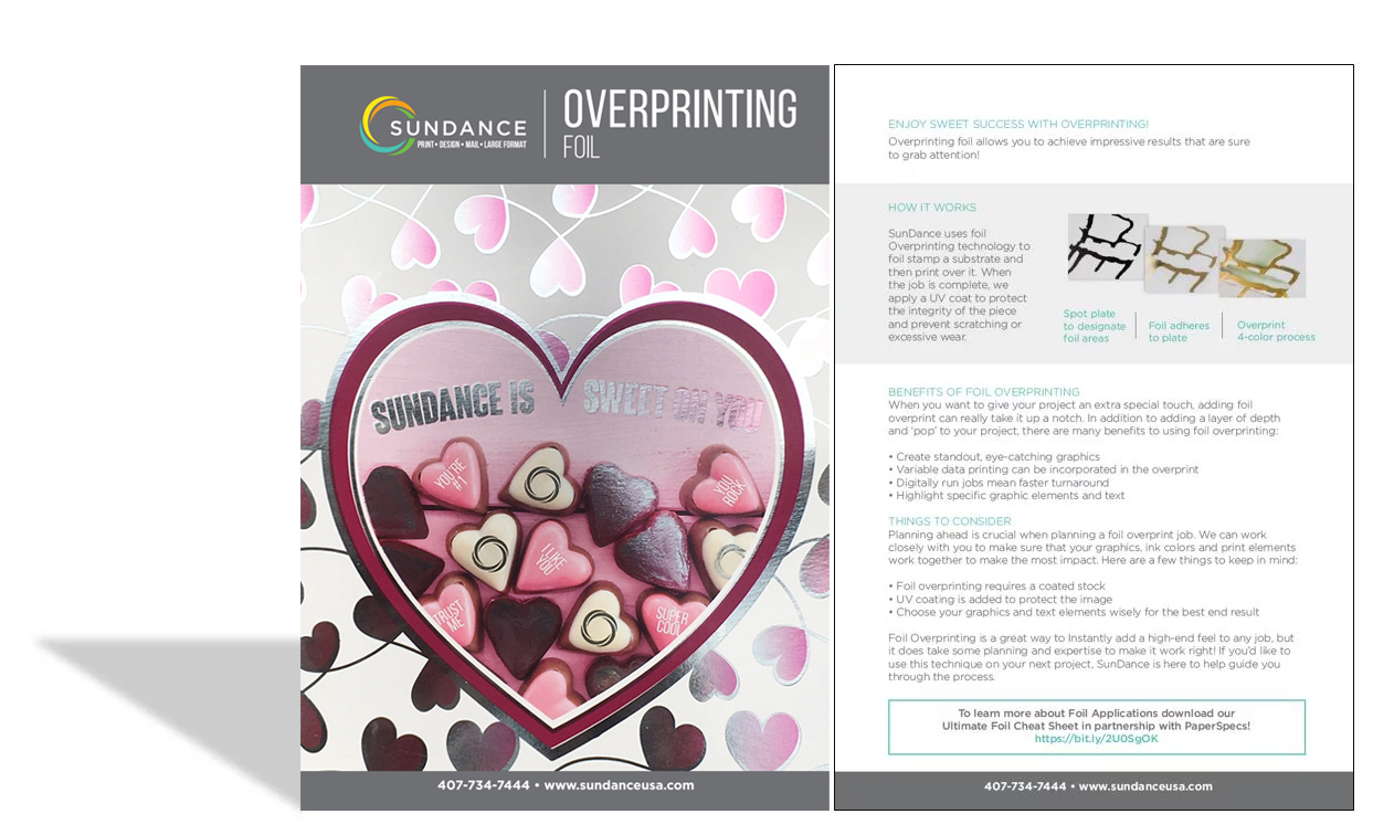 Cheat Sheet - Overprinting Foil